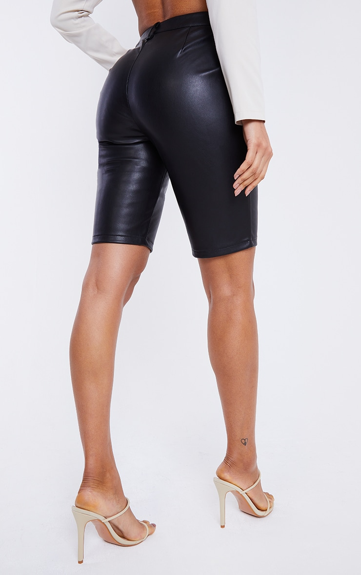 Black Faux Leather Button Up Cycle Shorts 3