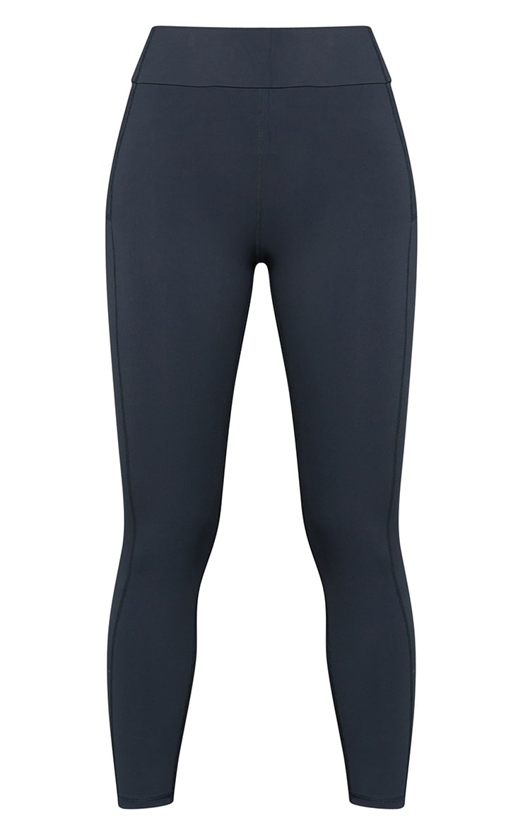 Charcoal Super High Waist Pocket Detail Gym Leggings 5