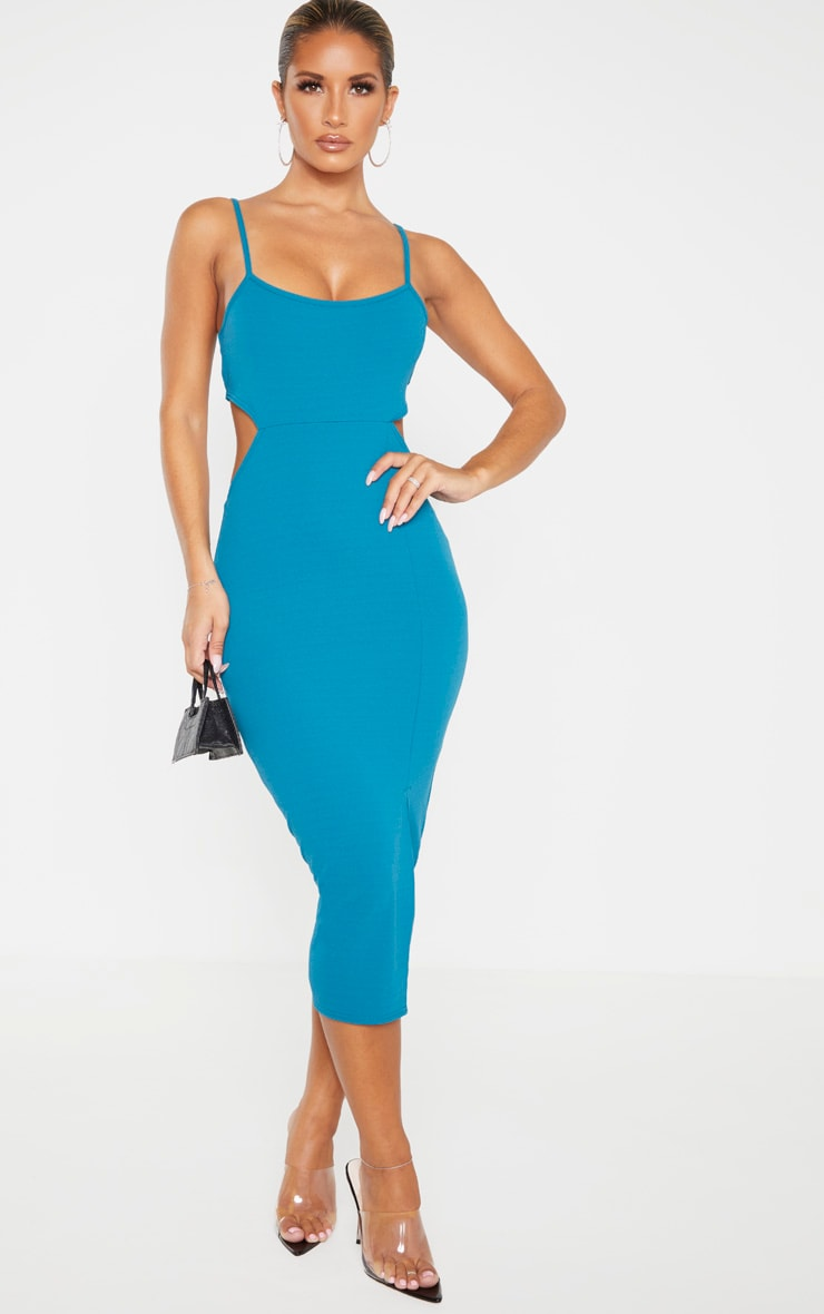 Teal Strappy Cut Out Back Midi Dress  1