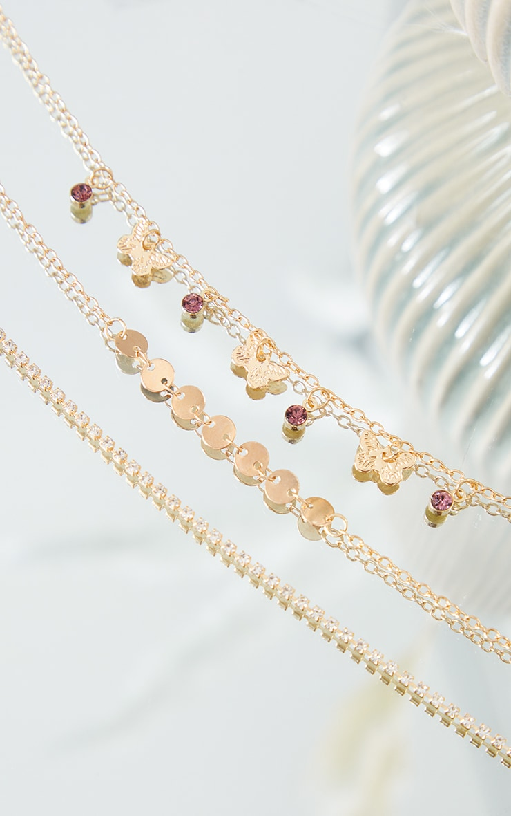 Gold Assorted Diamante Dainty Butterfly Anklet 3