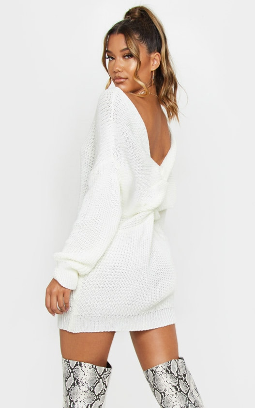 Cream Twist Back Sweater Dress 1
