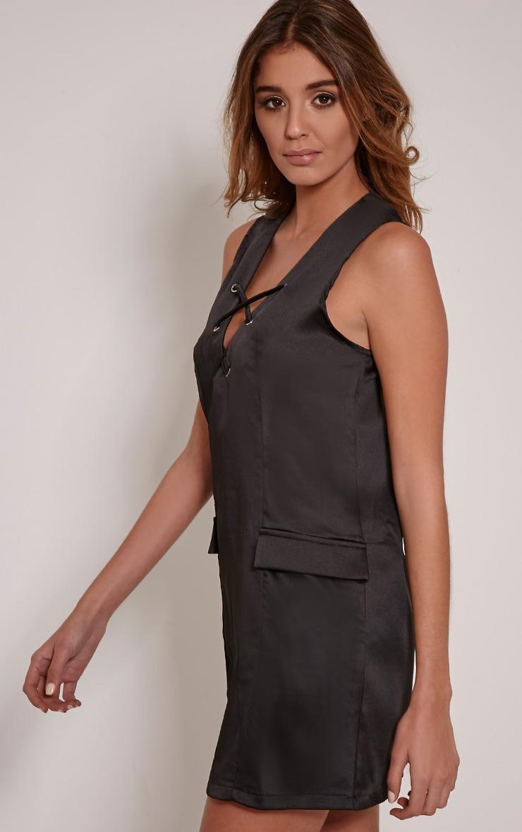 Elliya Black Lace Up Shift Dress 3