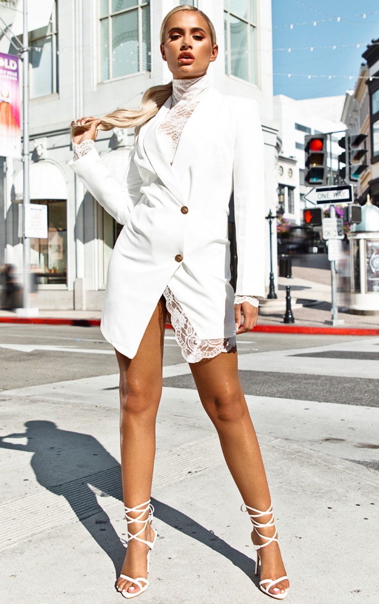 White Gold Button Lace Insert Blazer Dress