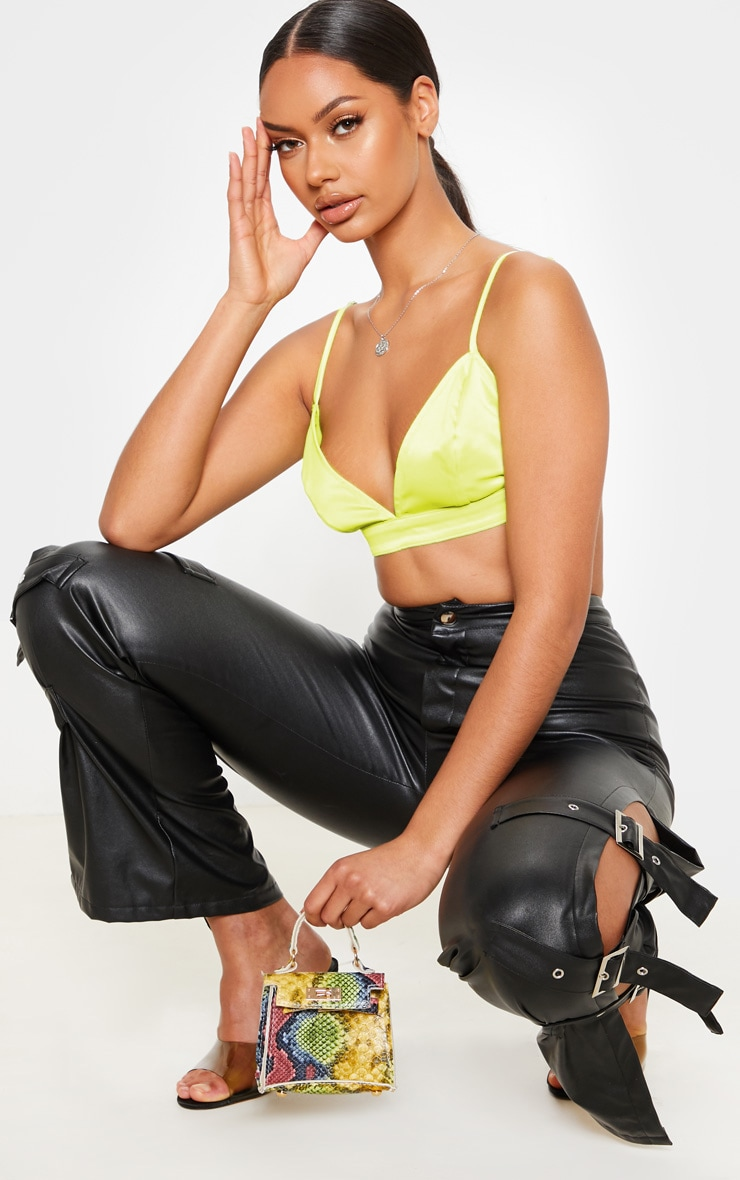 Lime Satin Bralet 1