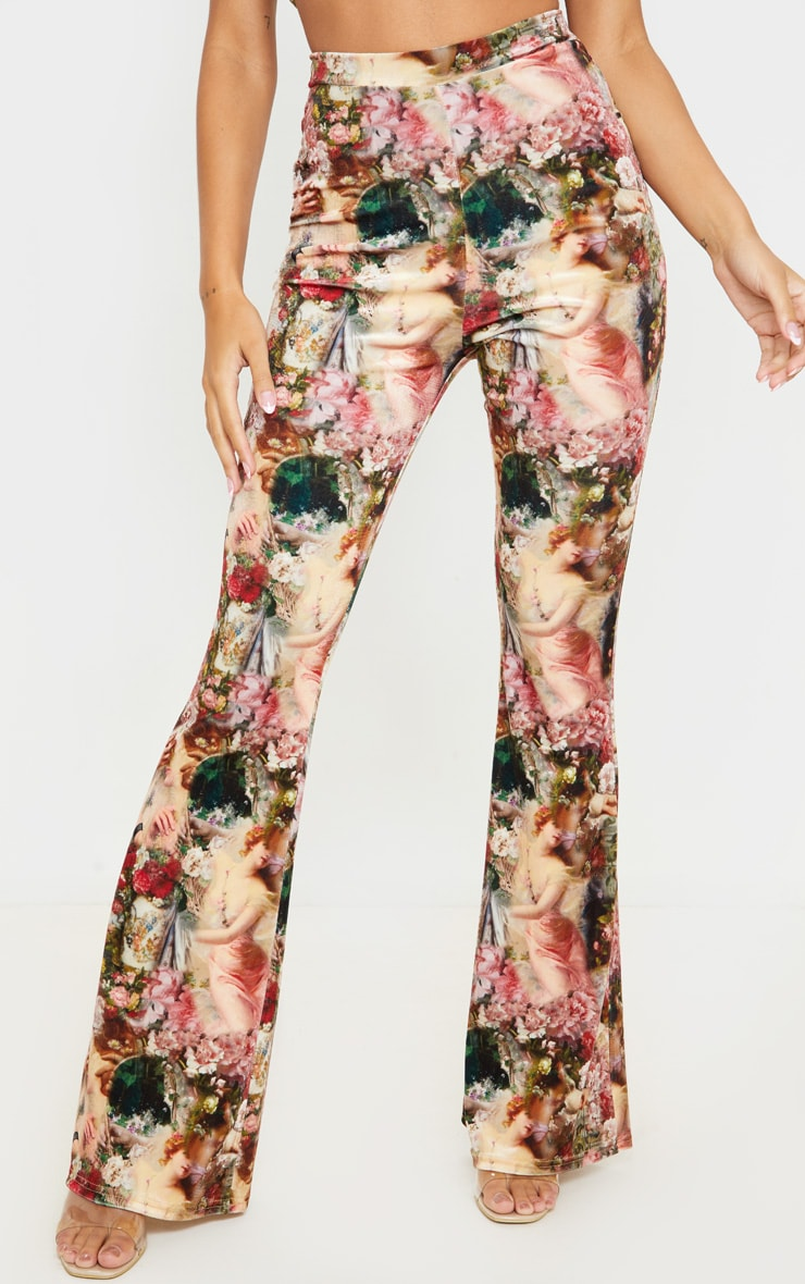 Rose Femme Renaissance Print Velvet High Waisted Flared Pants 2
