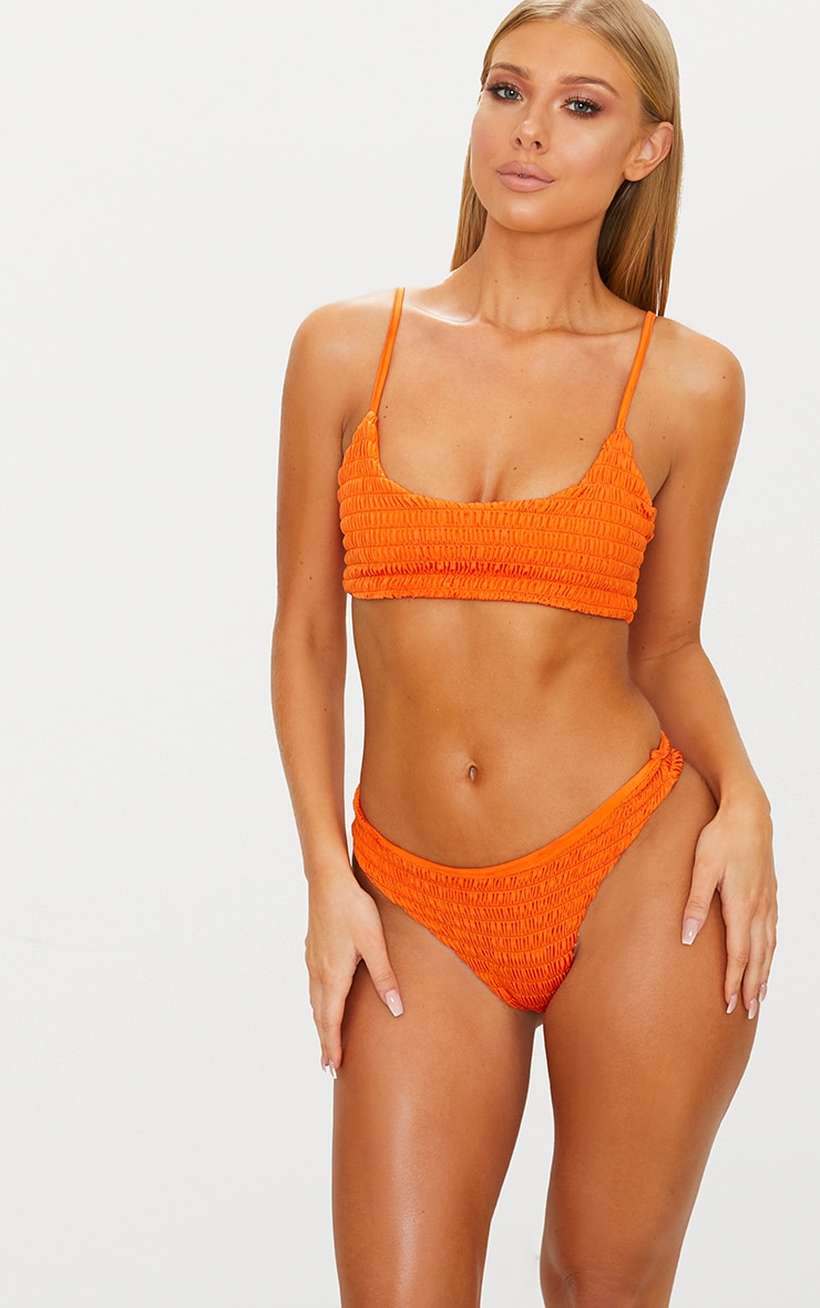 Burnt Orange Crinkle  Bikini Bottom 1