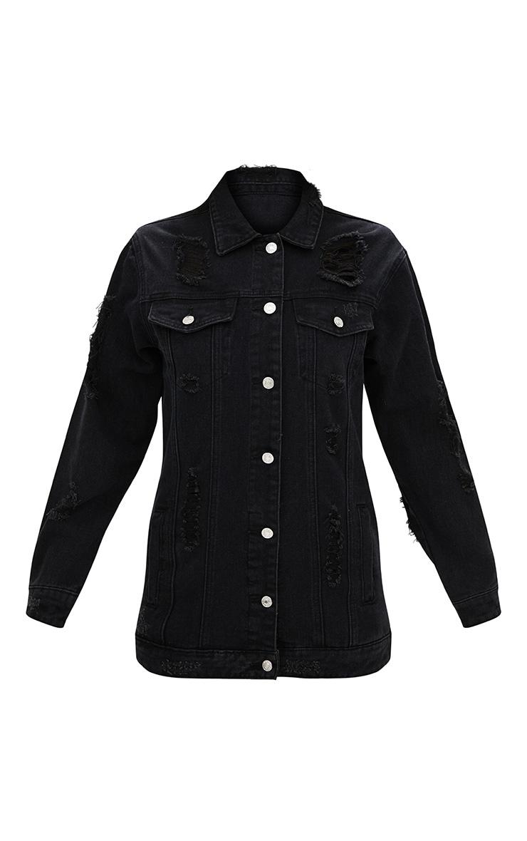 Black Denim Distressed Longline Jacket 3