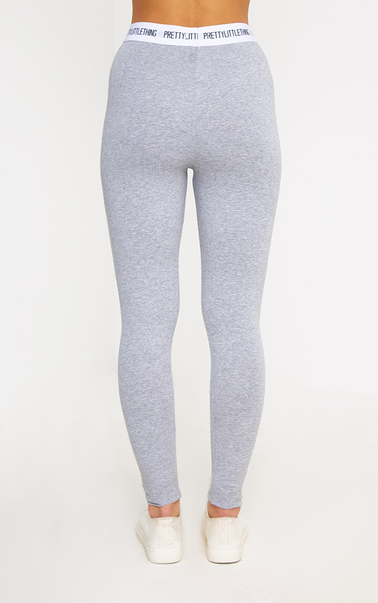 PRETTYLITTLETHING Petite Grey Marl Slogan Waistband Leggings 4