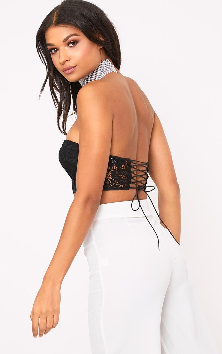 Black Lace Corset Crop Top  2