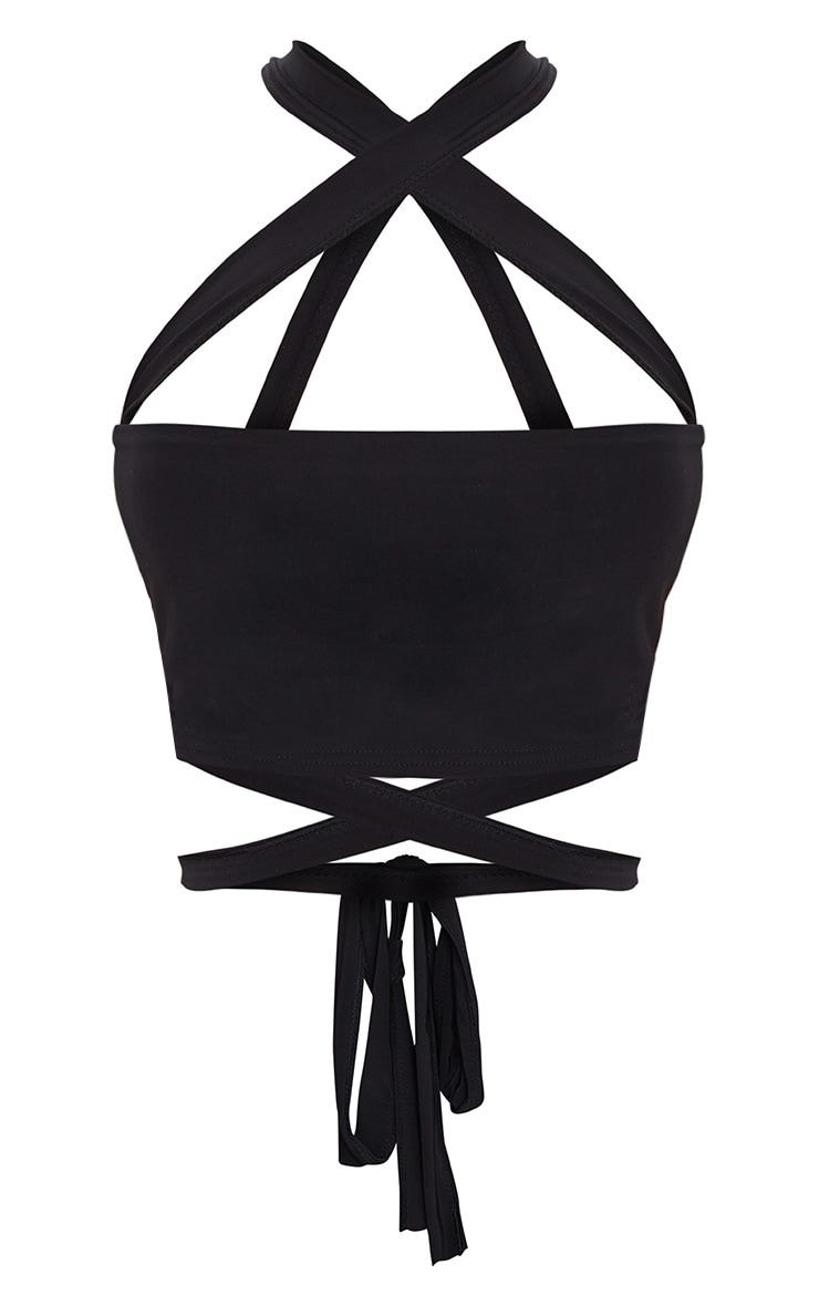 Black Slinky Tie Detail Bandeau Top 3