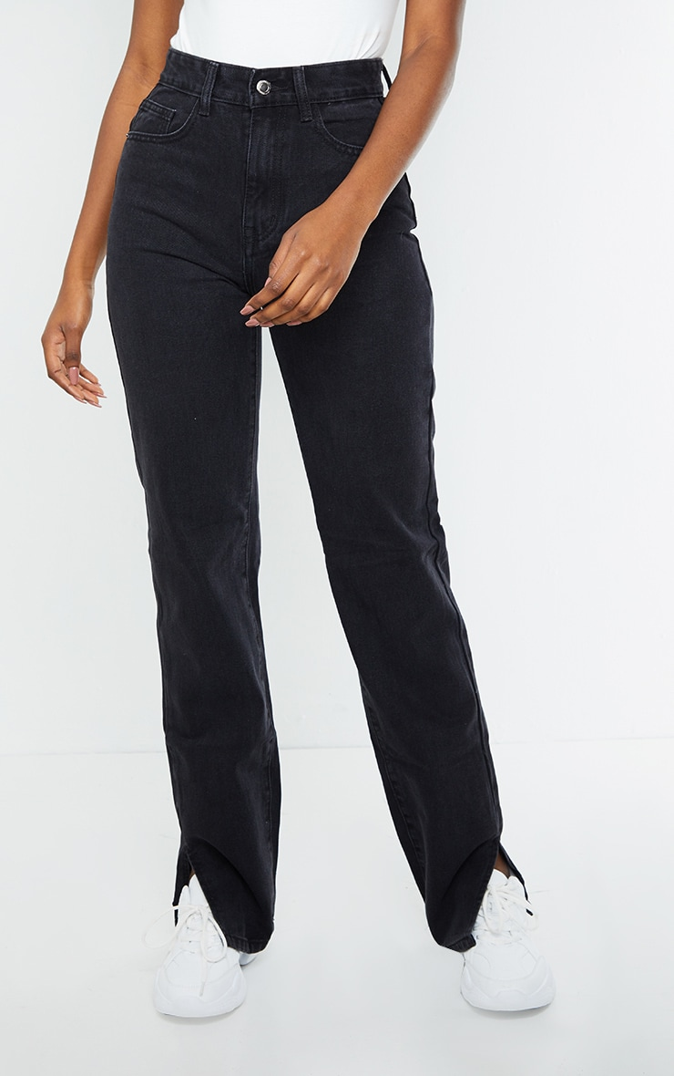 Tall Washed Black Split Hem Jeans 2