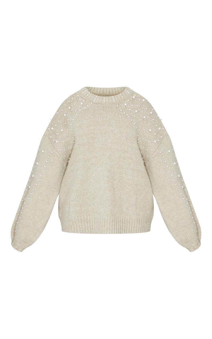 Oatmeal Embellished Sleeve Turtle Neck Sweater 5