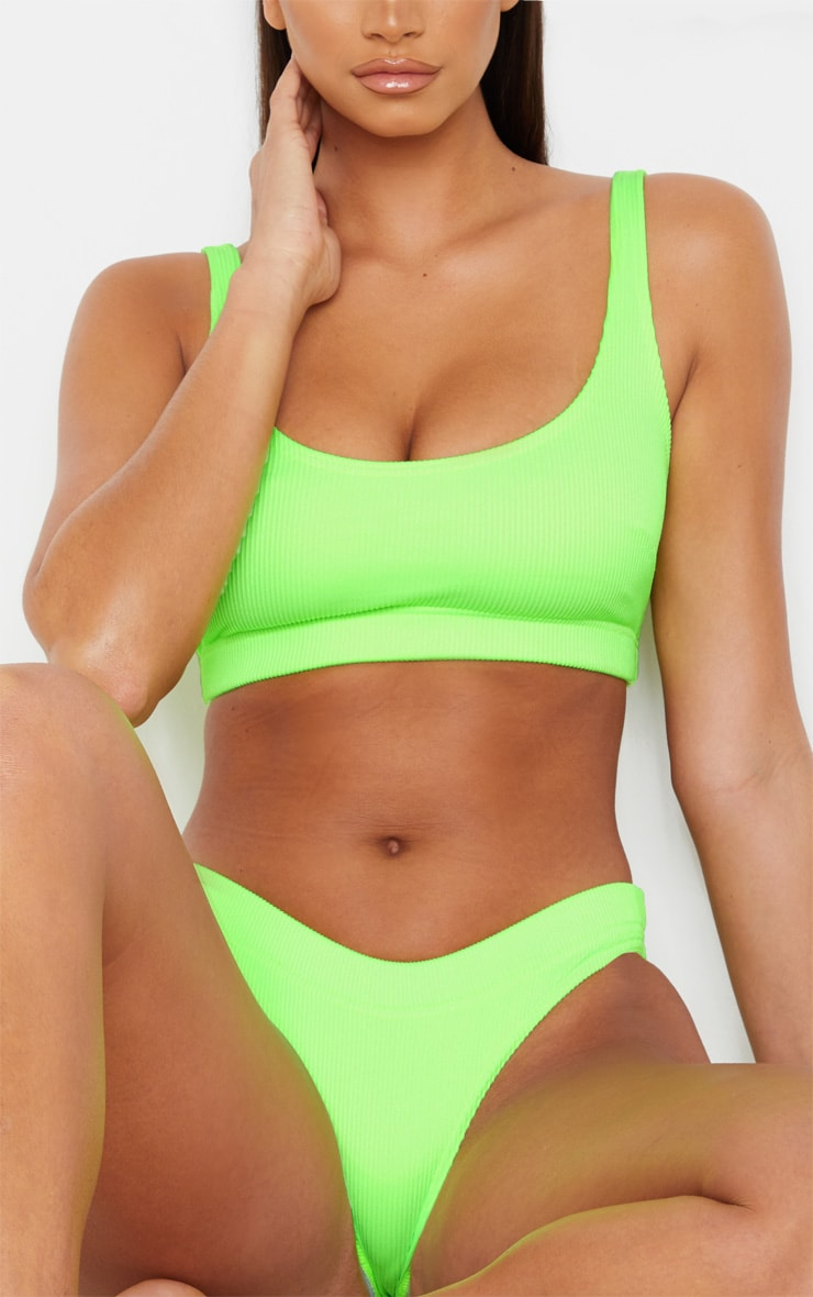 Lime Mix & Match Fuller Bust Ribbed Elasticated Scoop Bikini Top 4