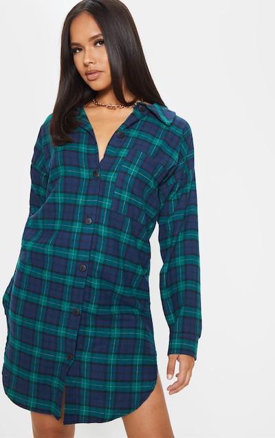 Green Checked Oversized Boyfriend Shirt Dress