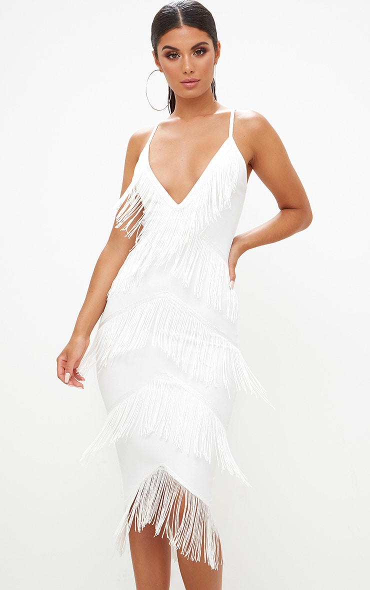 White Strappy Tassel Longline Midi Dress 1