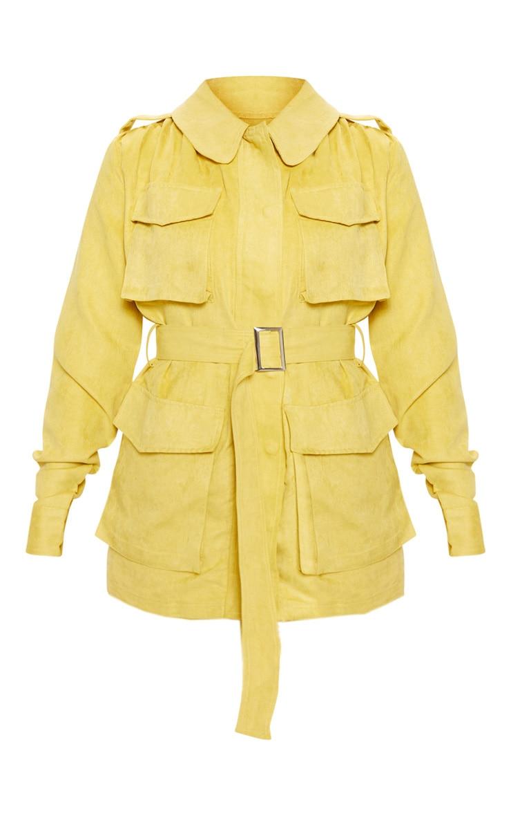 Mustard Faux Suede Pocket Detail Jacket  3
