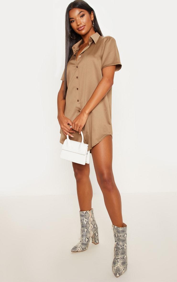 Khaki Satin Short Sleeve Shirt Dress