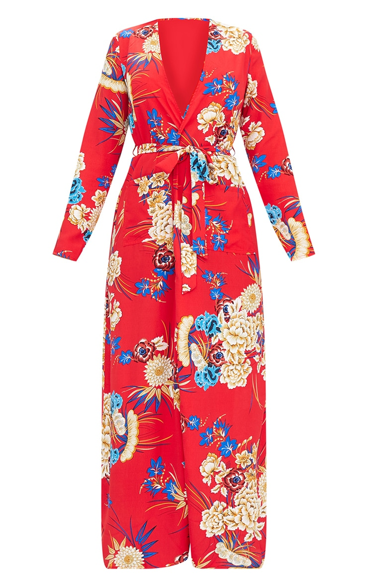 Red Floral Maxi Duster 3