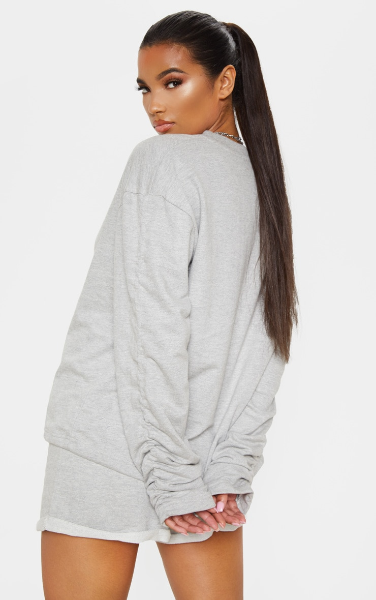 Grey Ruched Sleeve Oversized Sweater 2