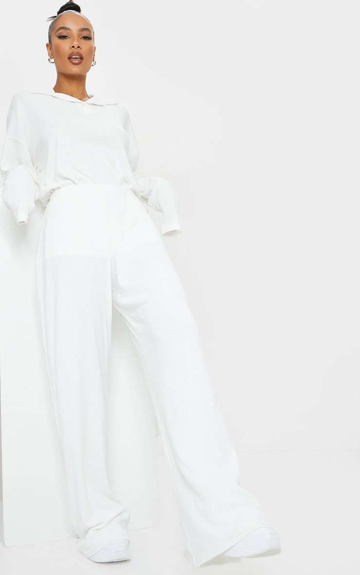 Cream Brushed Rib Wide Leg Trousers 1