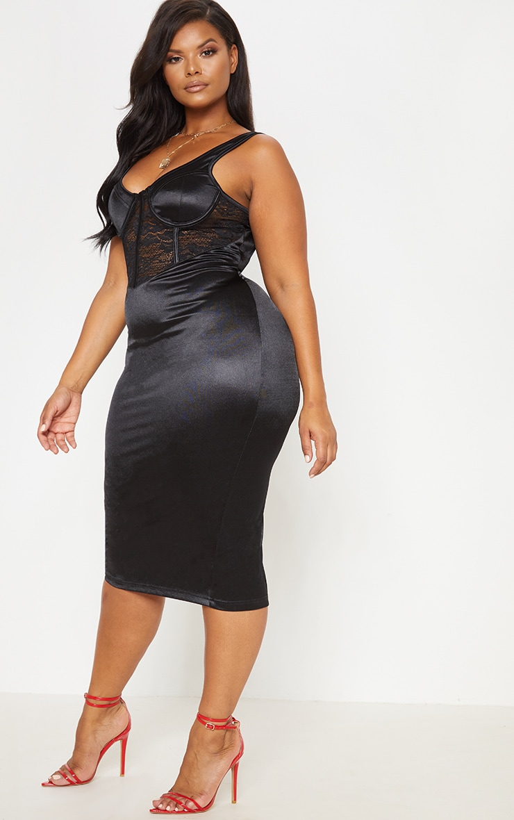 Black Satin Bustier Lace Insert Midi Dress 5