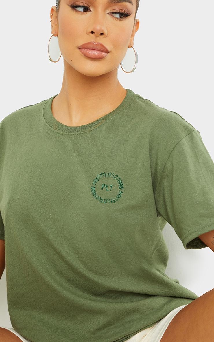 PRETTYLITTLETHING Khaki Circle Embroidered T Shirt 4