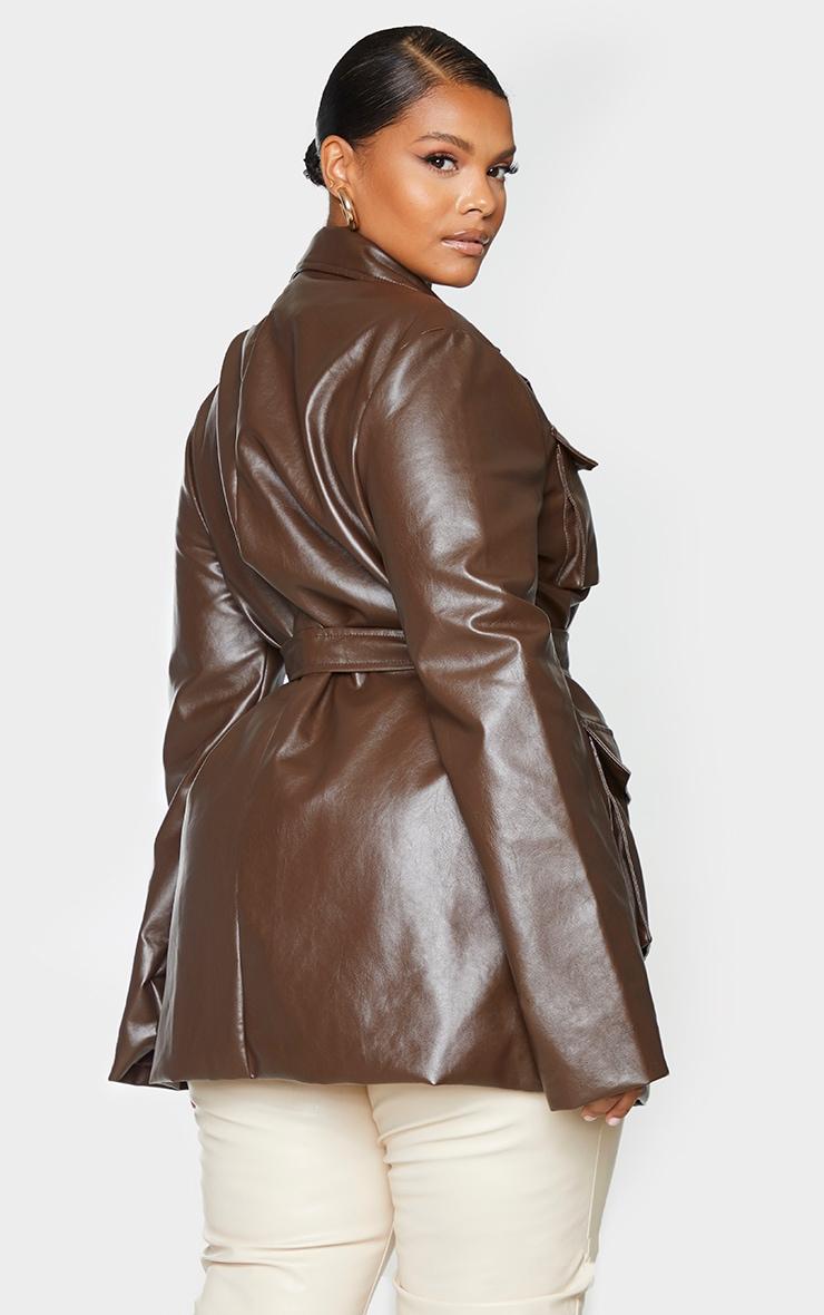 Plus Chocolate Brown PU Longline Pocket Front Jacket 2