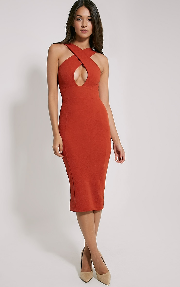 Courtney Rust Cross Front Midi Dress 1