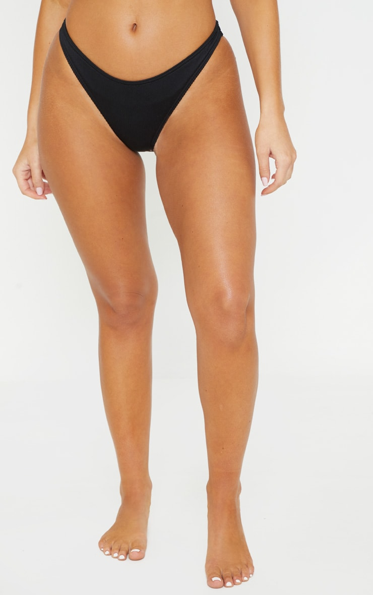 Black Ribbed High Leg Bikini Bottom 2