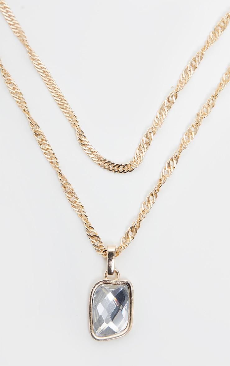 Gold Crystal Gemstone Pendant Necklace 3