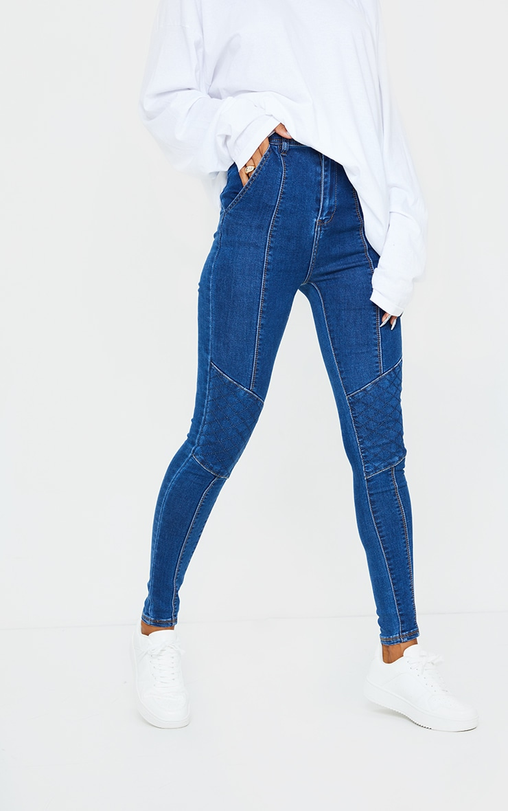 Dark Blue Wash Denim Biker Jeans 2