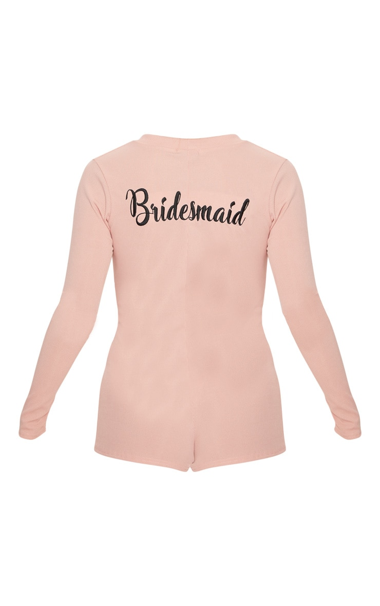 Pale Pink Bridesmaid Embroidered Back PJ Romper 4