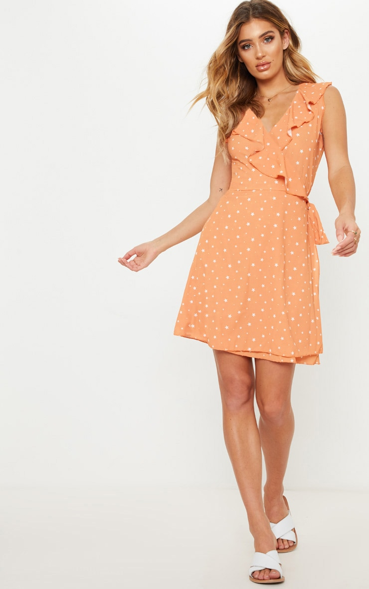 Burnt Orange Star Print Sleeveless Tea Dress 1