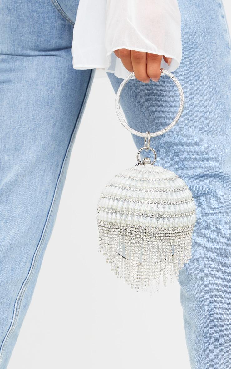 White Pearl Silver Diamante Sphere Clutch 1