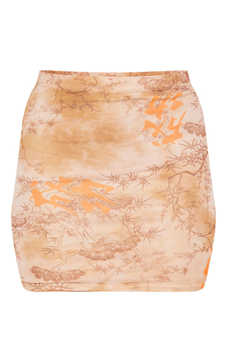 Nude Oriental Mesh Printed Mini Skirt 3