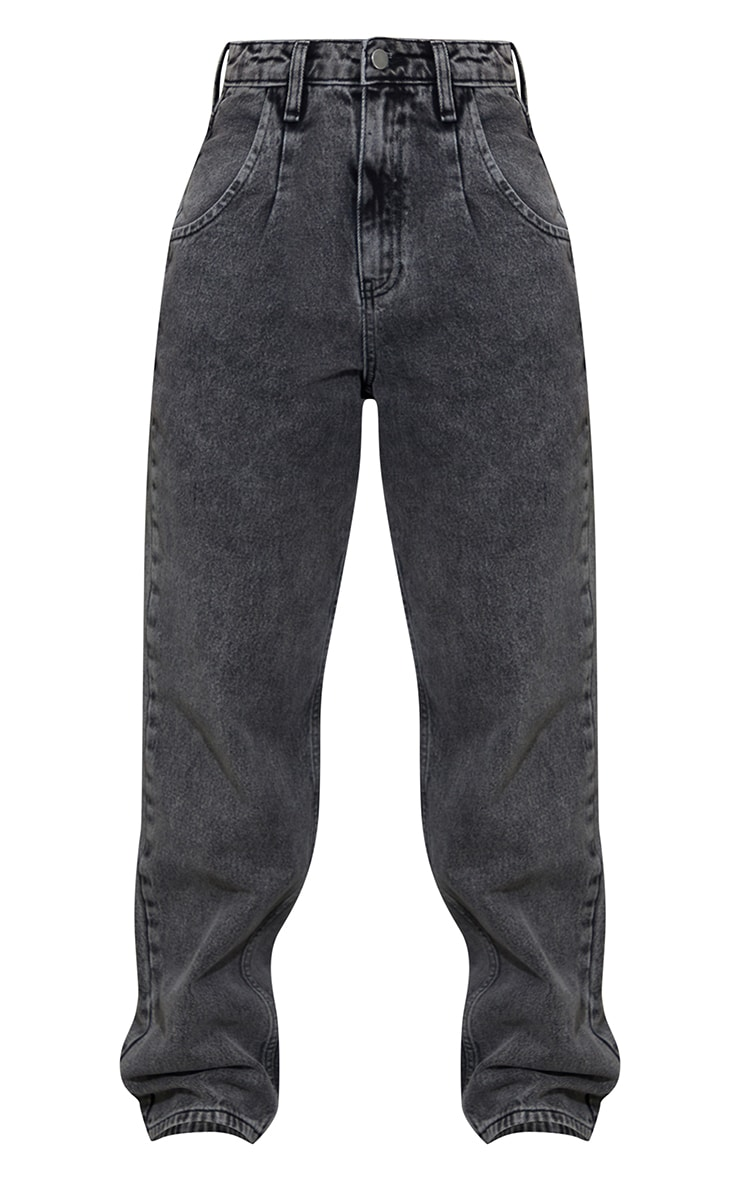 Washed Black Seam Detail Wide Leg Jean 5