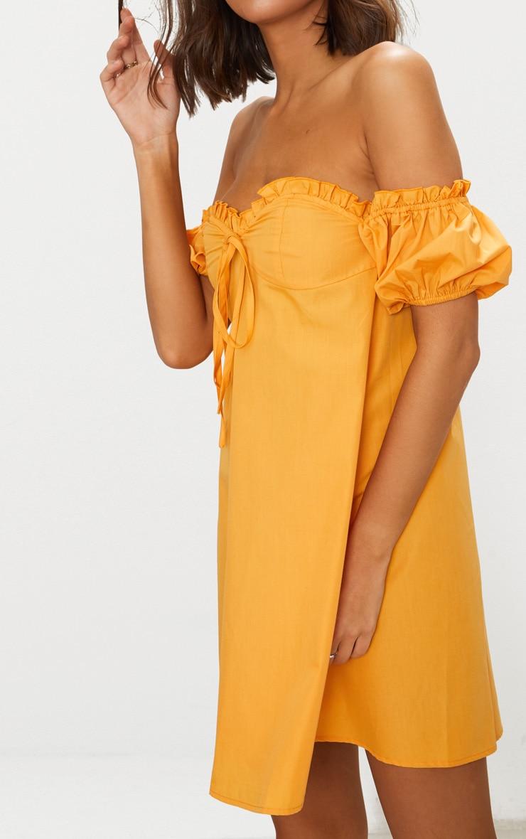 Mustard Frill Bust Bardot Shift  Dress 5