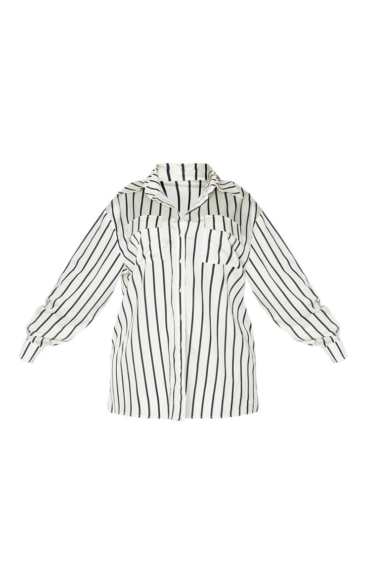 Plus Cream Stripe Print Oversized Shirt 3