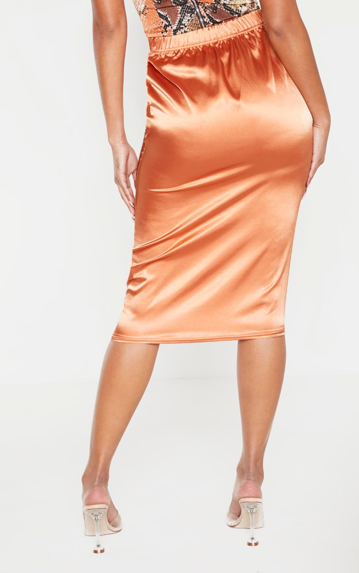 Chestnut Satin Midi Skirt  4
