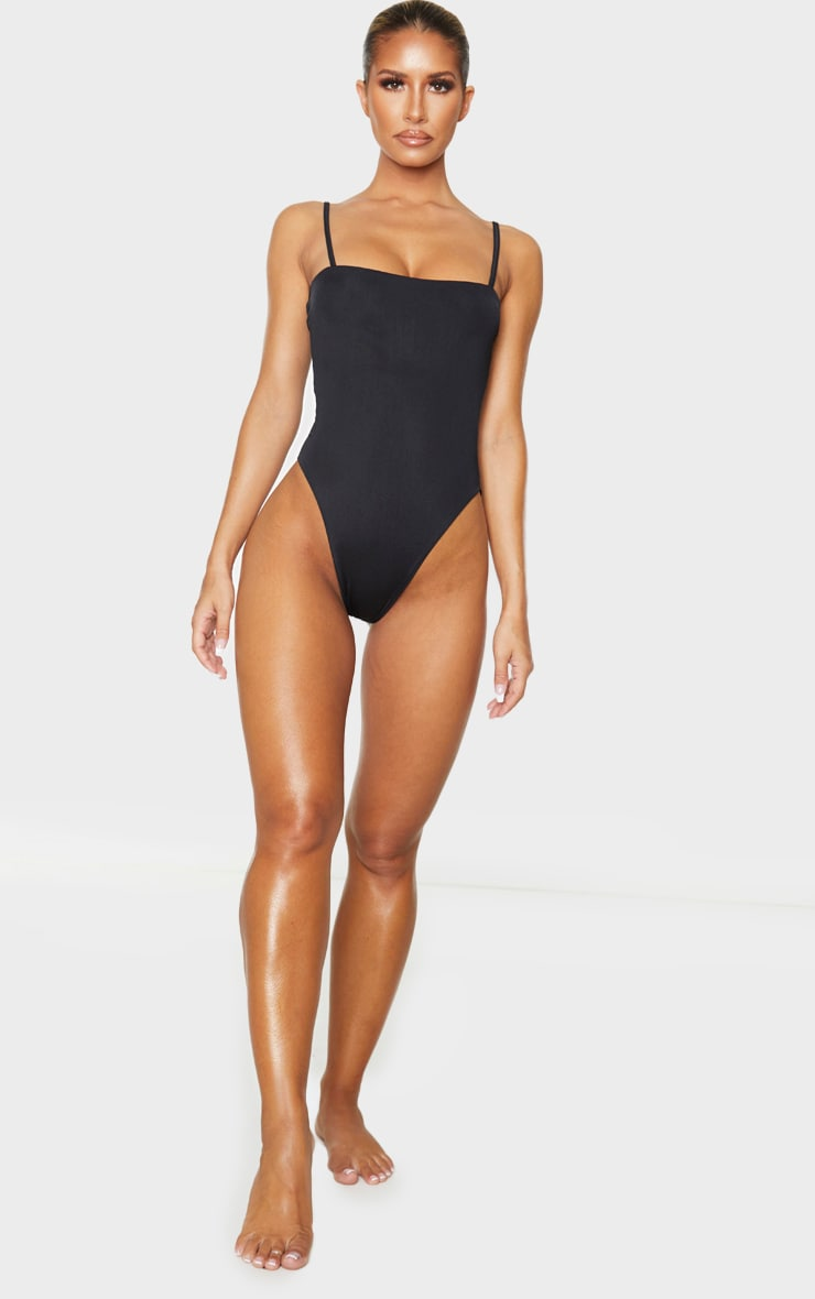Black Straight Neck Swimsuit 3
