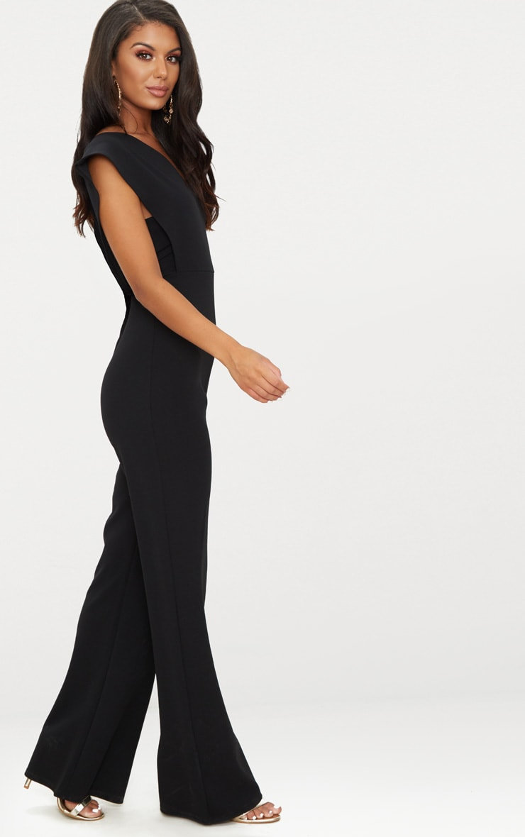 Black Drape One Shoulder Jumpsuit 4