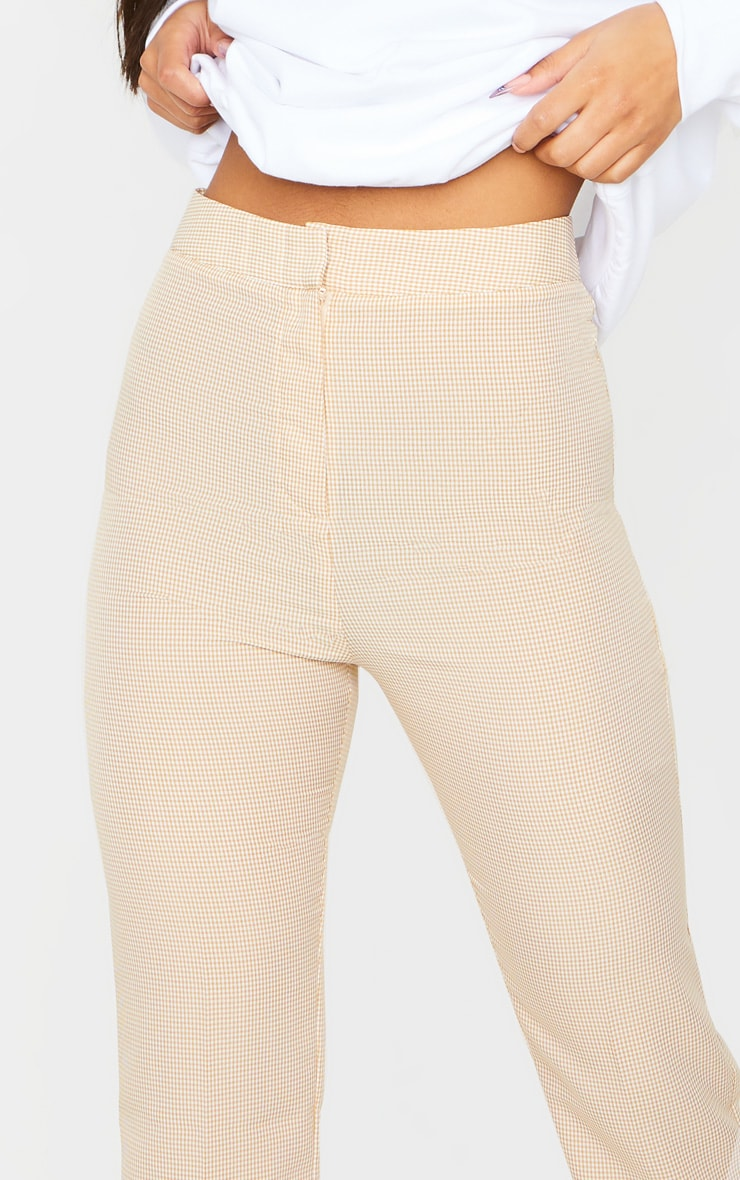 Taupe Gingham Straight Leg Crop Trousers 4