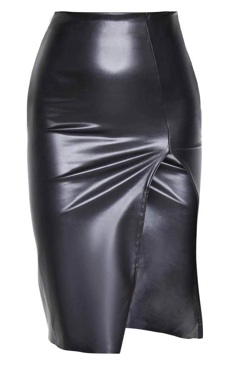 Black Faux Leather Extreme Split Midi Skirt 6