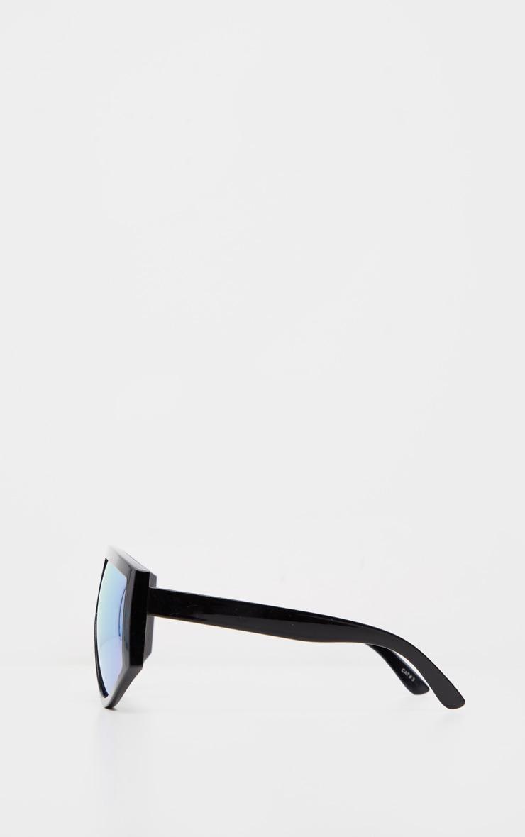 Black Frame Rose Lens Flat Top Modern Sunglasses 3