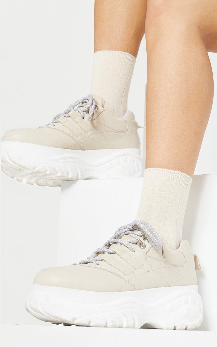 Cream Ribbed Ankle Socks 2