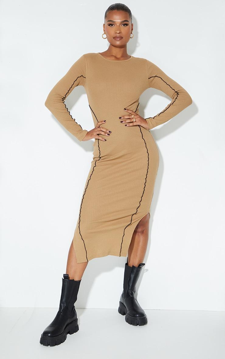 Camel Rib Binding Seam Detail Split Hem Midaxi Dress 3