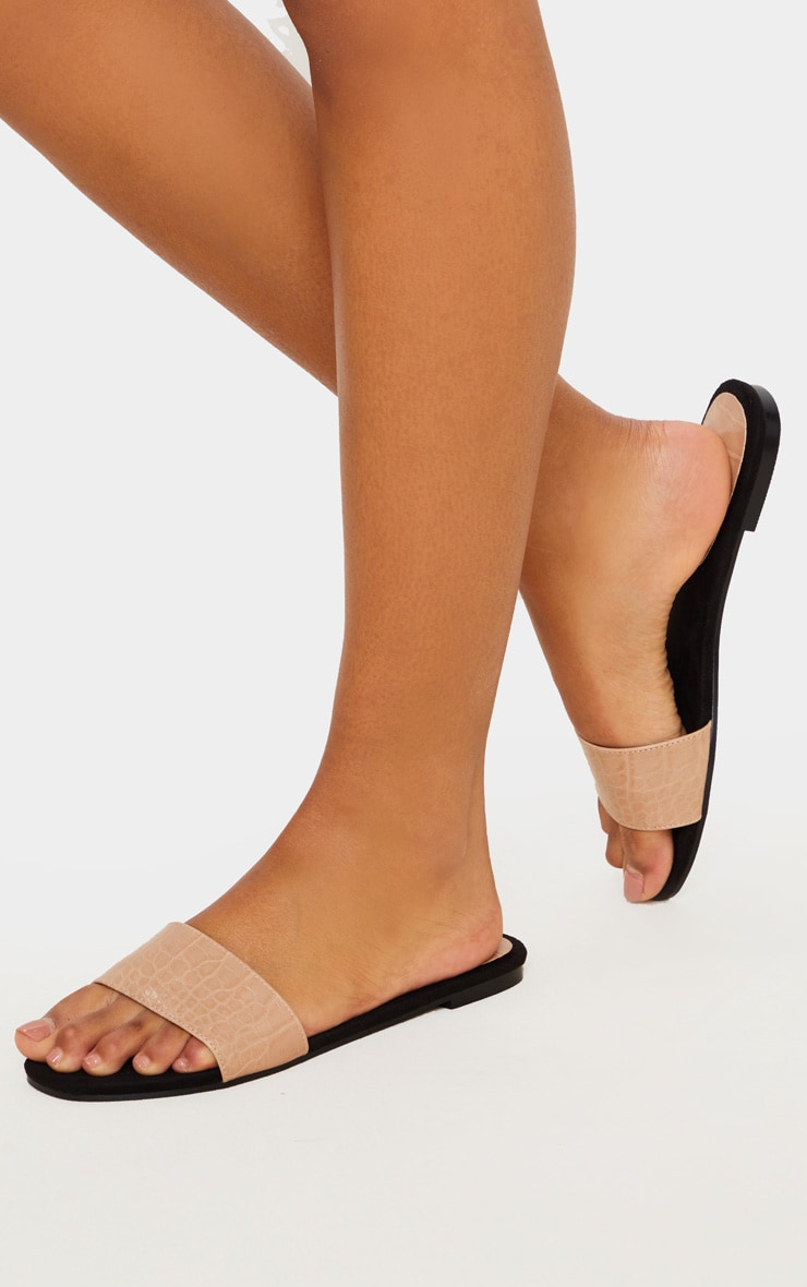 Nude Single Strap Mule Sandals 2