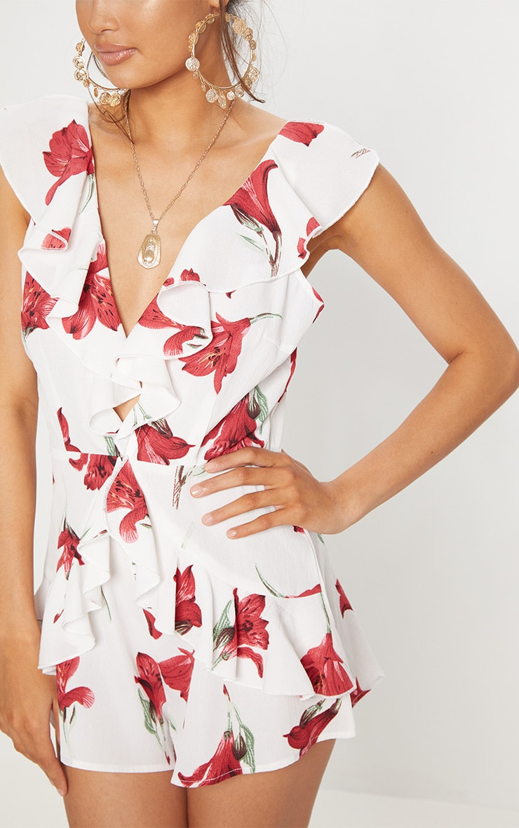 White Floral Frill Playsuit 5
