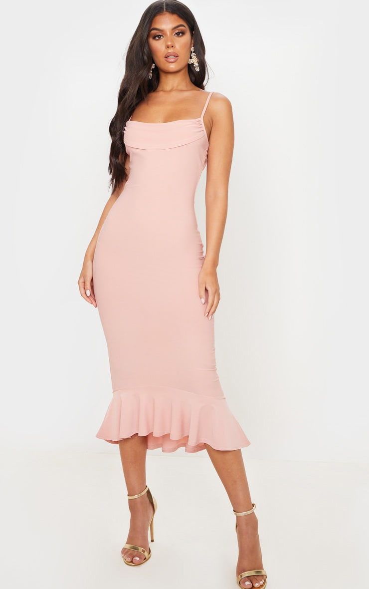 Dusty Pink Crepe Cowl Frill Hem Midi Dress 1