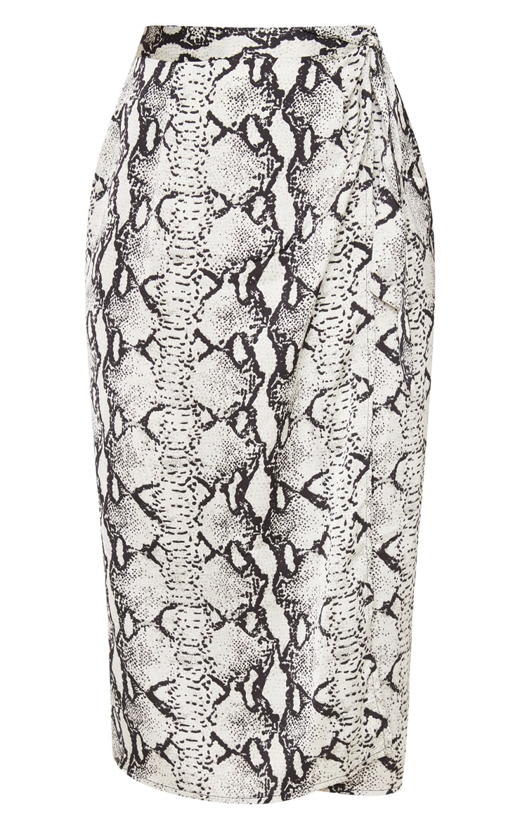 Snake Skin Satin Print Wrap Around Midi Skirt 3